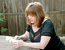 christine carving a keepsake